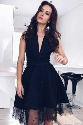Tulle Deep-V-Neck Sleeveless Sexy Black Homecoming Dress_2