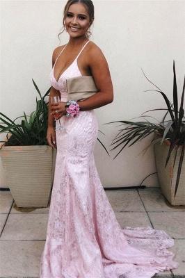 Stunning Spaghetti-Straps V-neck Pink Mermaid Prom Dresses_1