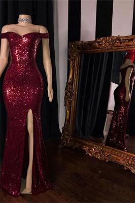 Burgundy Off-The-Shoulder Sequins Mermaid Prom Dresses With a Slit_2