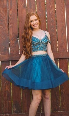 Illusion Organza Two-Pieces Beading Homecoming Dress_1