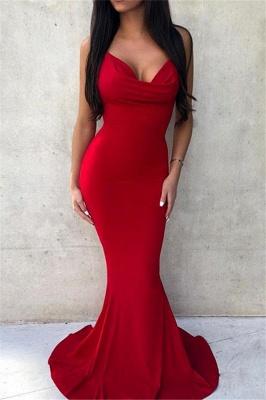 Elegant Simple Spaghetti-Straps Sleeveless Mermaid Evening Dresses_1