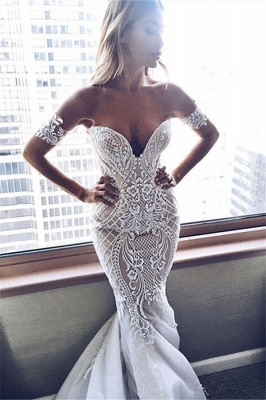 Sexy Zipper Off-the-shoulder Embroidery Mermaid Wedding Dress_2