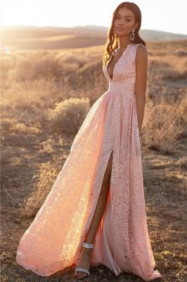 Pink Straps V-Neck Lace Side-Slit A-Line Evening Dresses_4