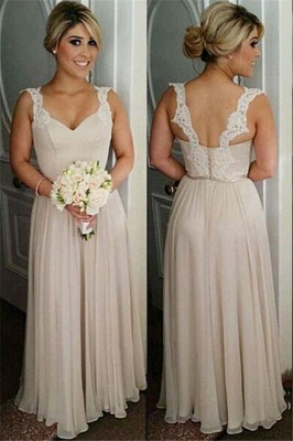 Lace A-line Straps Floor-length Buttons Bridesmaid Dresses_2