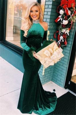 Green High-Neck Velvet Long Sleeves Mermaid Prom Dresses_1