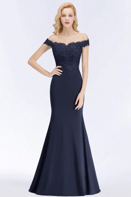 Green Elegant Lace Mermaid Off-The-Shoulder Bridesmaid Dresses_7