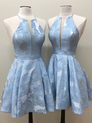 Deep-V-Neck Halter Appliques A-Line Sleeveless Homecoming Dress_3