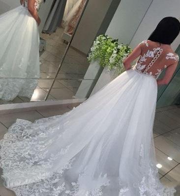 White A-Line Lace Cap-sleeve Romantic Wedding Dresses_4