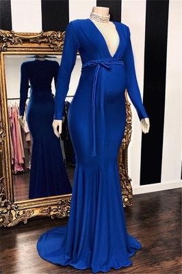 Elegant Long Sleeves V-Neck Pregnant Mermaid Prom Dresses_1