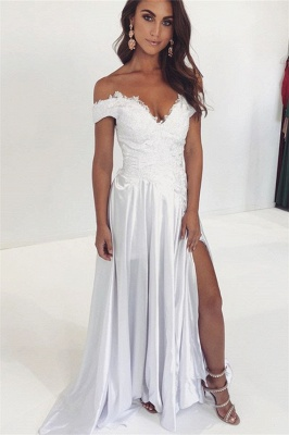 A-line Off-The-Shoulder Applique Prom Dresses_1