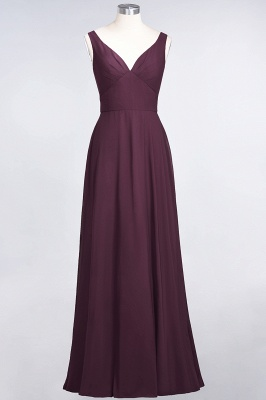A-Line V-Neck Straps Sleeveless Ruffles Floor-Length  Bridesmaid Dress with Open Back_1