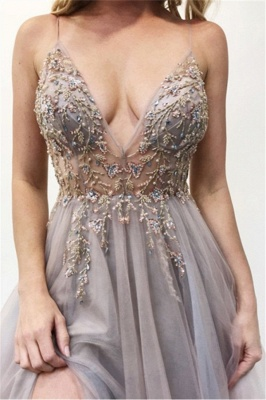 Seductive A-line V-neck Spaghetti-Straps Prom Dresses with Side Slit_3