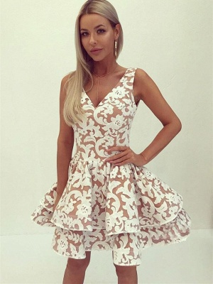 Appliques Layers V-Neck Homecoming Dress_1