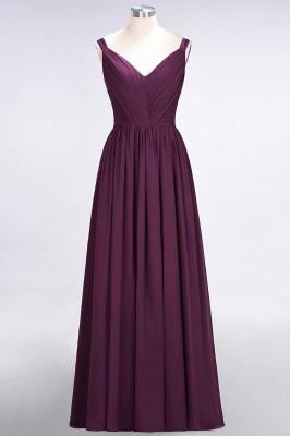 A-Line Straps V-Neck Sleeveless Backless Floor-Length  Bridesmaid Dress with Ruffles_1