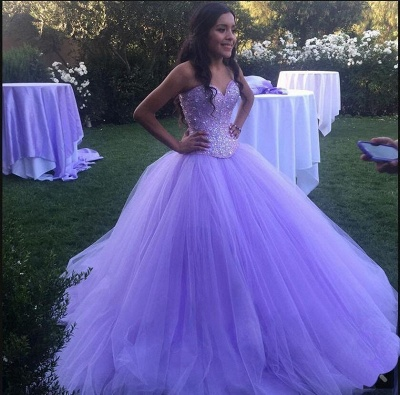 Charming Purple Sweetheart Ball Gown Beadings Quince Dresses | Pretty Sweet 16 Dresses Long_1