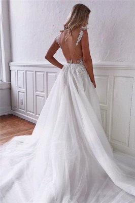 Dazzling Straps Appliques Sheer Tulle Backless Wedding Dresses_2