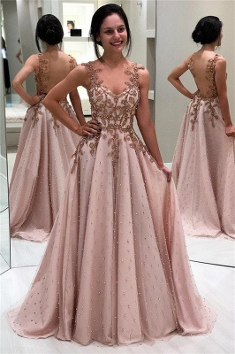 Elegant A-Line Appliques Beaded Backless Prom Dresses_1