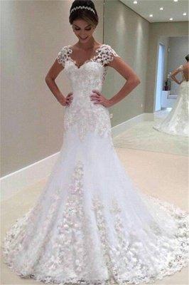 Cap Sleeves Lace Beading Open Back Mermaid Wedding Dresses_2