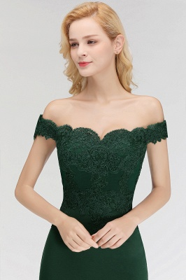 Green Elegant Lace Mermaid Off-The-Shoulder Bridesmaid Dresses_20