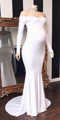 Charming Off Shoulder Long Sleeves Pregnant Mermaid Prom Dresses_2