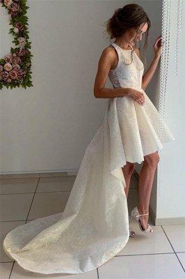 Stylish Sleeveless Hi-Lo Wedding Dresses with Appliques_3