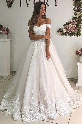 Alluring Off-The-Shoulder Appliques Tulle A-Line Wedding Dresses