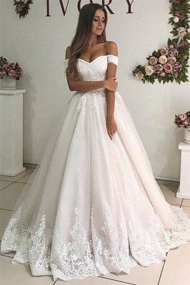 Alluring Off-The-Shoulder Appliques Tulle A-Line Wedding Dresses_1