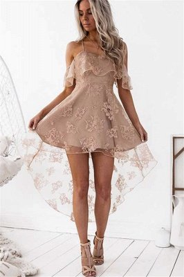 Dusty Pink Homecoming Dresses Ruffles Sheer Layer Short Prom Dresses_2