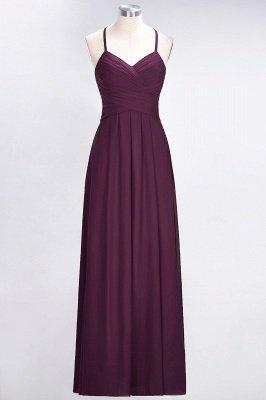 A-Line Halter V-Neck Sleeveless Floor-Length  Bridesmaid Dress with Ruffles_1