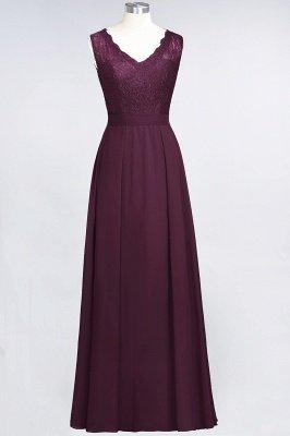A-Line V-Neck Sleeveless Floor-Length  Lace Bridesmaid Dress_1
