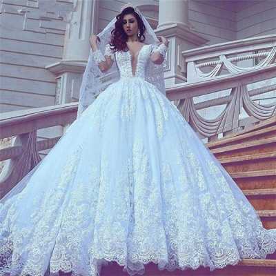 Long Sleeves Lace Ball-Gown Stylish Court-Train V-neck Wedding Dress_4