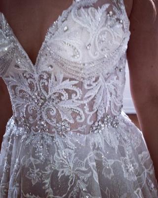Glamorous A-line Spaghetti Straps V-Neck Lace Wedding Dresses_2