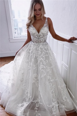 Glamorous A-line Spaghetti Straps V-Neck Lace Wedding Dresses