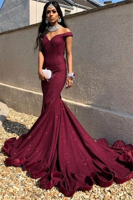 Gorgeous Off-The-Shoulder Sleeveless Mermaid Prom Dresses_1
