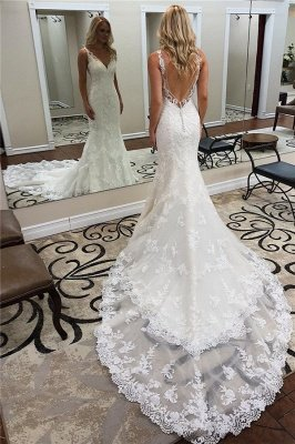 Glamorous Straps V-Neck Backless Lace  Mermaid Wedding Dresses_1