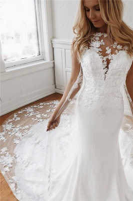 Elegant Lace Appliques Sleeveless Mermaid Wedding Dresses