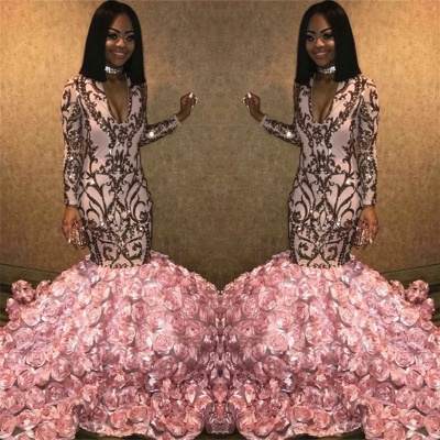 Sparkly V-neck Long Sleeves Pink Prom Dresses with Flowers Train |African Prom Dresses_3