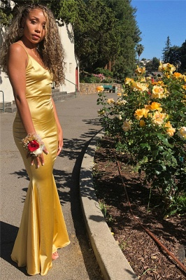 Sleek Yellow Spaghetti-Straps Mermaid Prom Dresses | Sexy Evening Dresses_2