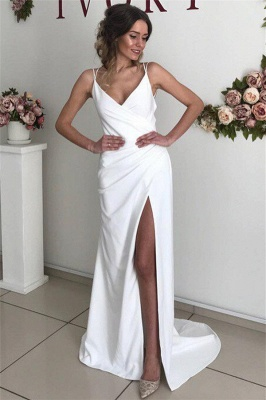 Chic Sexy Backless Spaghetti-Straps Wedding Dresses with a Split_1