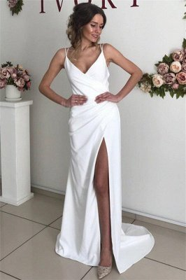 Chic Sexy Backless Spaghetti-Straps Wedding Dresses with a Split