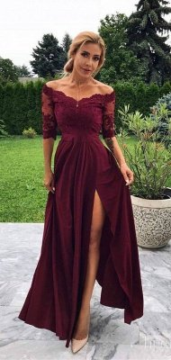A-line Burgundy Off-The-Shoulder Prom Dresses with Lace Appliques and Side-Slit_2