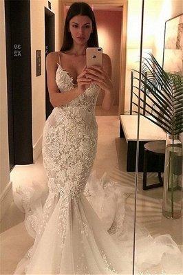 Tulle Charming Spaghetti-Strap Lace Button Zipper Mermaid Wedding Dress_3
