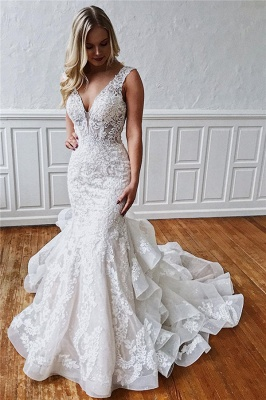 Glamorous Straps Ruffled Lace Mermaid Wedding Dresses_1