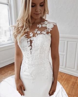 Glamorous Lace Appliques Mermaid Wedding Dresses_3