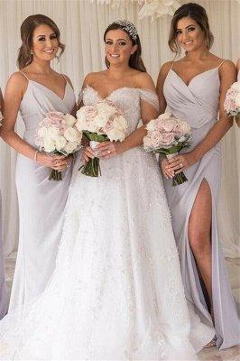 Simple Cheap Side-Slit Bridesmaid Dresses |Long Maid of Honor Dress