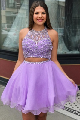 Cute Purple Crystal Halter Two Piece Homecoming Dresses_1