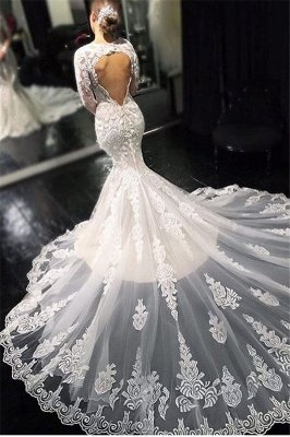 Glamorous Lace Appliques Long Sleeves Mermaid Wedding Dresses