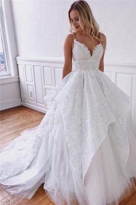 Gorgeous Spaghetti-Straps Ruffle Appliques A-Line Wedding Dresses_1