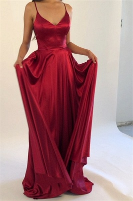 Sleek Spaghetti-Straps Burgundy Prom Dresses | Modern A-Line Satin Evening Gowns
