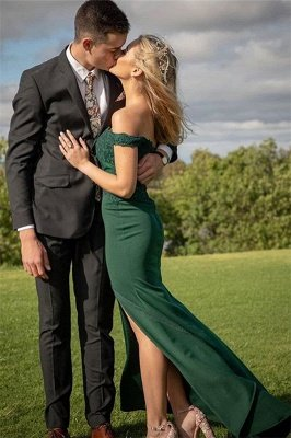 Green Off-The-Shoulder Mermaid Prom Dresses | Elegant Evening Dresses with Appliques and Side-Slit